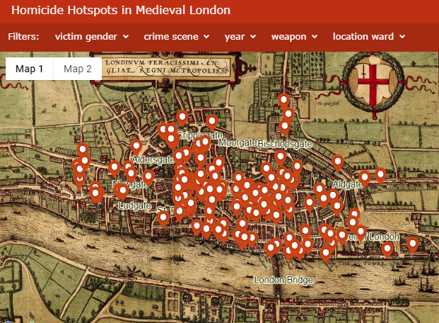 Centre London Map.The London Medieval Murder Map Launches Among Widespread Media